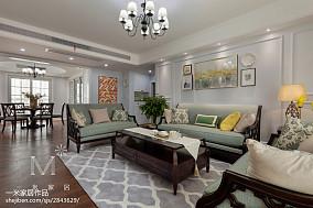 190m²风情美式客厅左右沙发设计图151-200m²三居美式经典家装装修案例效果图