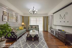 90平方三居客厅美式设计效果图151-200m²三居美式经典家装装修案例效果图