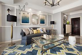 精美105平米三居客厅美式效果图三居美式经典家装装修案例效果图