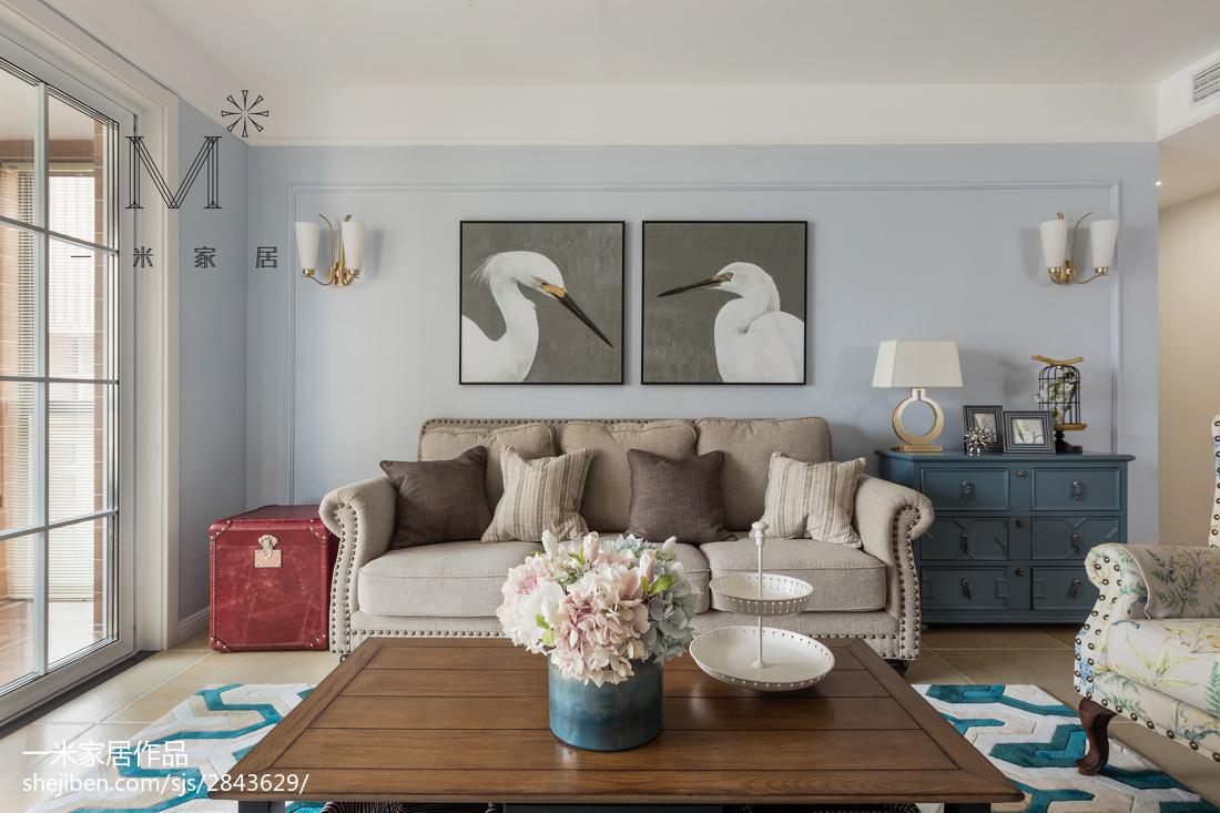 2018精选面积101平美式三居客厅欣赏图片客厅美式经典客厅设计图片赏析