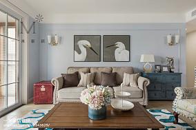 2018精选面积101平美式三居客厅欣赏图片