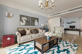 精选90平米三居客厅美式效果图片三居美式经典家装装修案例效果图