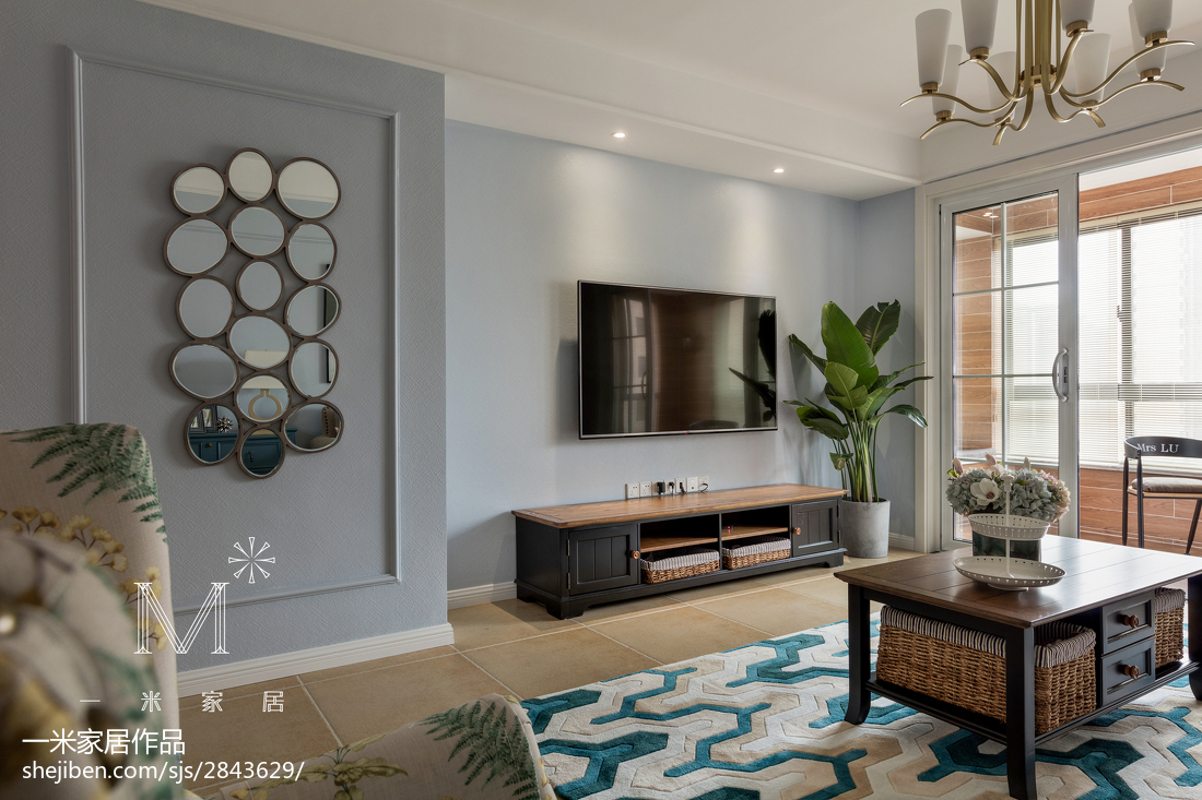 137m²美式背景墙设计图客厅美式经典客厅设计图片赏析