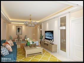 2018精选面积106平欧式三居客厅装修设计效果图片欣赏