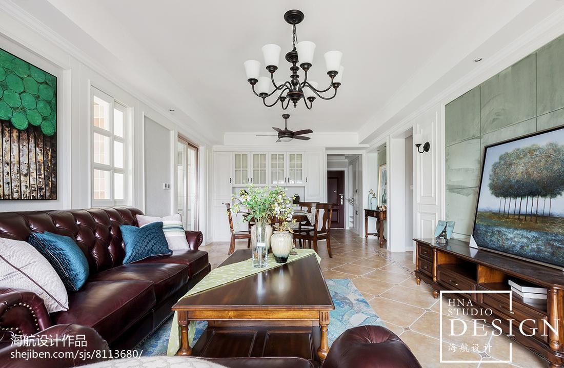 精美面积108平美式三居客厅装饰图片大全三居美式经典家装装修案例效果图