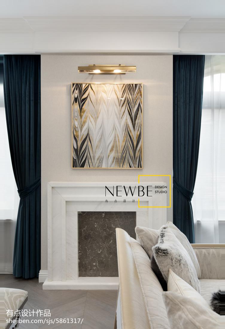 简单美式壁炉设计图客厅美式经典客厅设计图片赏析