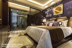 中式卧室装修实景图片欣赏样板间中式现代家装装修案例效果图