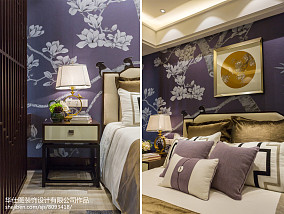 2018中式卧室装修图片欣赏样板间中式现代家装装修案例效果图