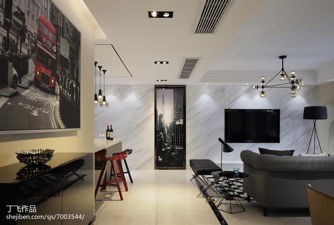 2018三居过道简约装修图片大全客厅现代简约客厅设计图片赏析