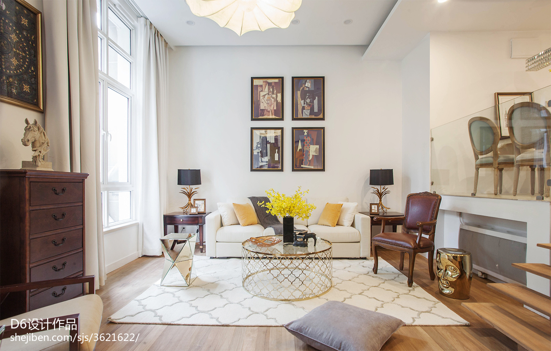 温馨42平混搭复式客厅案例图客厅