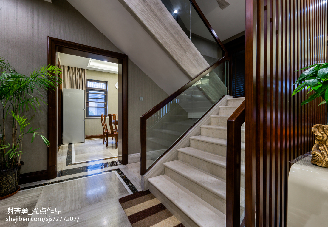 新中式别墅楼梯设计图功能区中式现代功能区设计图片赏析
