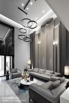 2018精选135平米中式复式客厅装修欣赏图片大全复式中式现代家装装修案例效果图