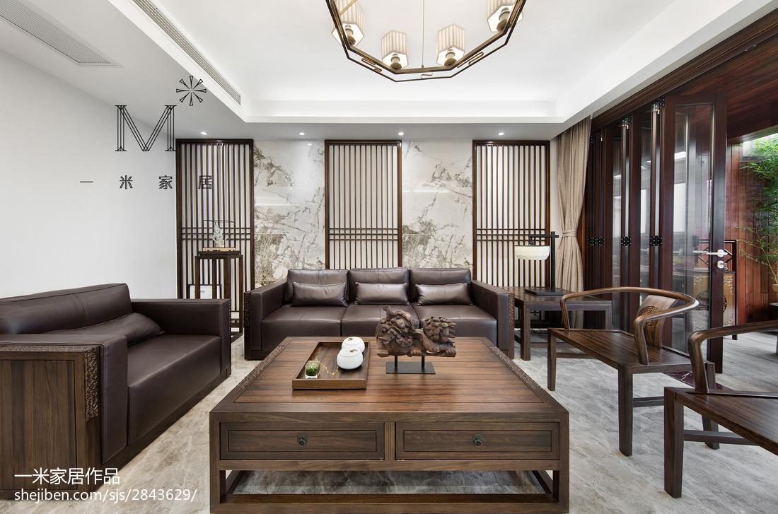 平米四居客厅中式实景图片欣赏四居及以上中式现代家装装修案例效果图