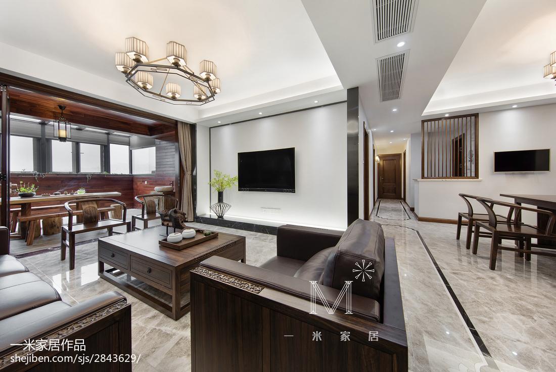 165m²新中式背景墙设计图客厅中式现代客厅设计图片赏析