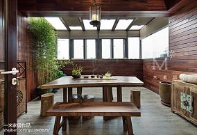 热门面积144平中式四居阳台装修欣赏图四居及以上中式现代家装装修案例效果图