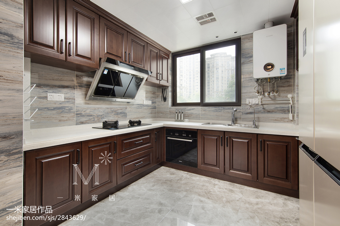 165m²新中式厨房设计图餐厅中式现代厨房设计图片赏析