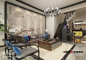 精选面积129平复式客厅中式效果图片欣赏