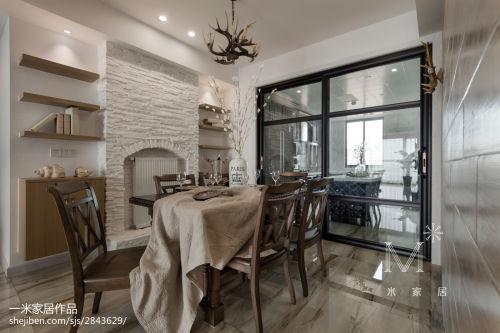 精选106平米三居餐厅美式装修效果图片欣赏厨房门151-200m²三居家装装修案例效果图