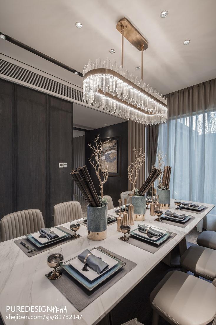 精选144平米中式别墅餐厅装修设计效果图厨房中式现代餐厅设计图片赏析