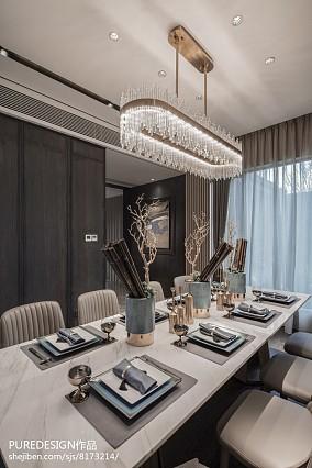 精选144平米中式别墅餐厅装修设计效果图别墅豪宅中式现代家装装修案例效果图