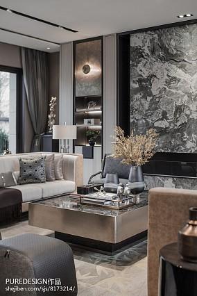 平米中式别墅客厅装饰图片别墅豪宅中式现代家装装修案例效果图