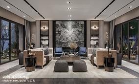2018精选面积111平别墅客厅中式装修图别墅豪宅中式现代家装装修案例效果图