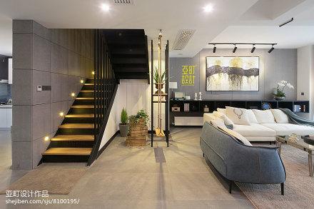 简洁61平现代复式客厅效果图片大全