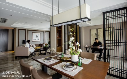 面积88平中式二居餐厅实景图片欣赏