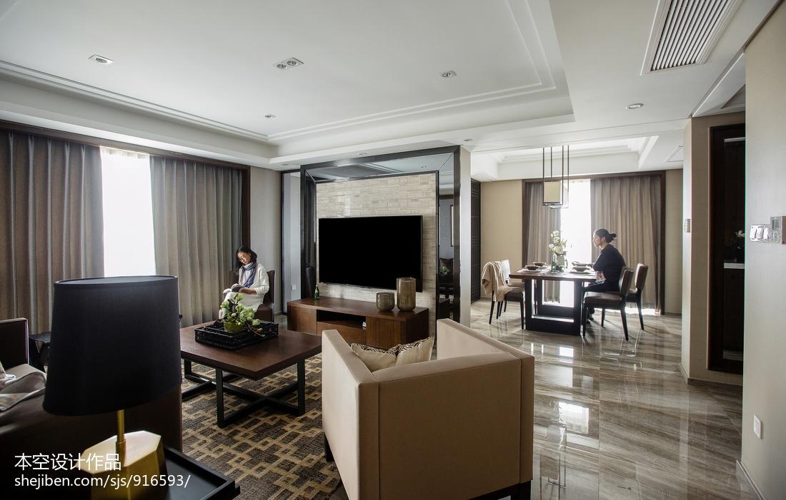 平米二居客厅中式装修效果图片二居中式现代家装装修案例效果图