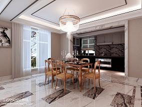 热门102平米三居餐厅简欧装修效果图片大全