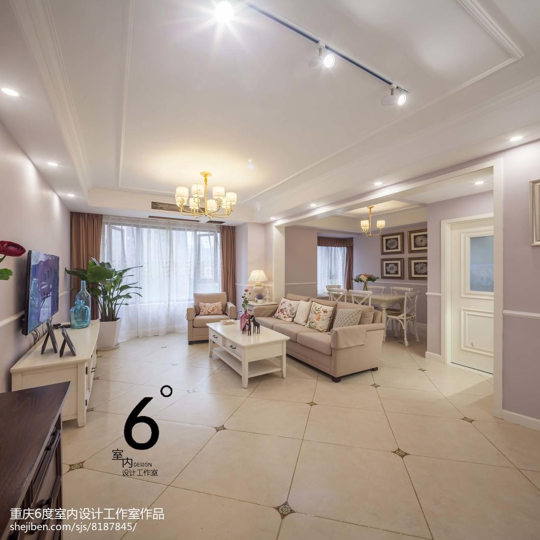 精选102平米三居客厅美式装修欣赏图片101-120m²三居美式经典家装装修案例效果图