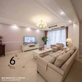 2018精选面积92平美式三居客厅效果图片大全101-120m²三居美式经典家装装修案例效果图