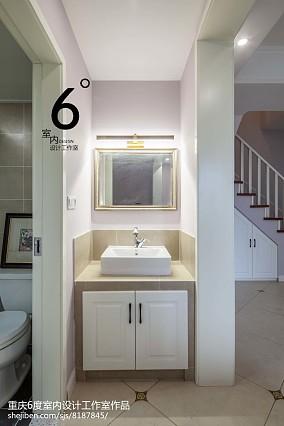 简洁76平美式三居卫生间效果图101-120m²三居美式经典家装装修案例效果图