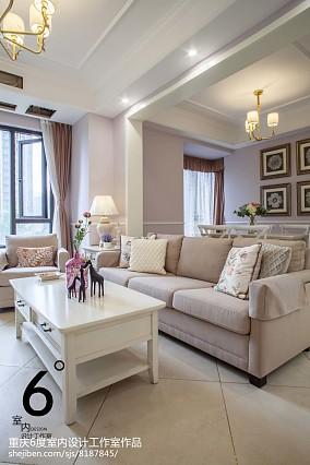面积93平美式三居客厅装修效果图片大全101-120m²三居美式经典家装装修案例效果图
