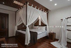 面积124平复式卧室东南亚装修实景图