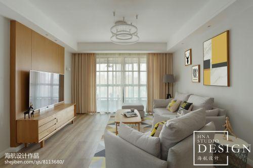 138㎡清新北欧客厅设计效果图客厅窗帘121-150m²二居北欧极简家装装修案例效果图
