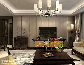 精美大小96平中式三居客厅装修图片121-150m²三居中式现代家装装修案例效果图