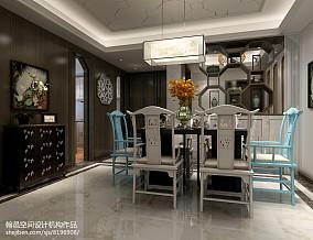 精美面积90平中式三居餐厅实景图片欣赏121-150m²三居中式现代家装装修案例效果图