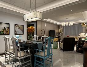 2018精选98平米三居餐厅中式实景图片欣赏121-150m²三居中式现代家装装修案例效果图