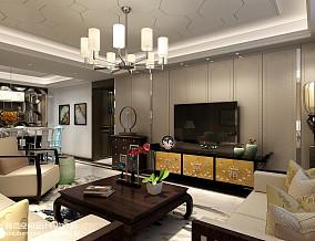 热门大小98平中式三居客厅欣赏图片大全121-150m²三居中式现代家装装修案例效果图