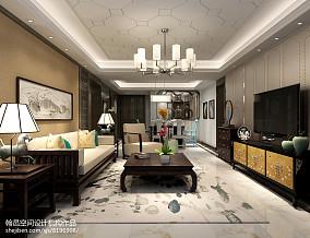 大气111平中式三居客厅装修装饰图121-150m²三居中式现代家装装修案例效果图