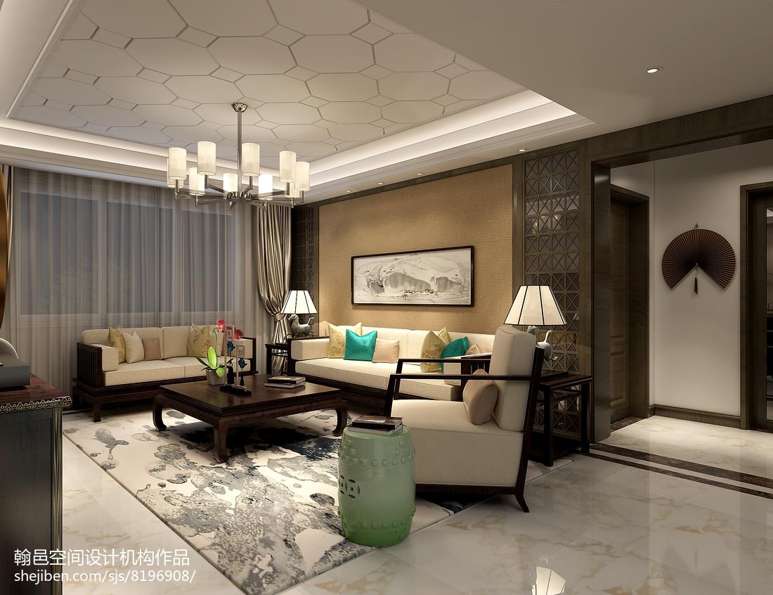 2018精选93平方三居客厅中式装修实景图片欣赏121-150m²三居中式现代家装装修案例效果图