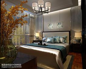 热门面积109平中式三居卧室实景图片欣赏121-150m²三居中式现代家装装修案例效果图