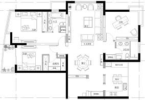 雅墨其香新中式121-150m²三居中式现代家装装修案例效果图