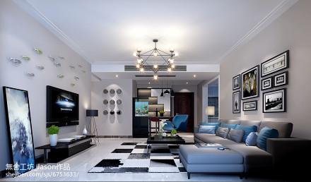热门97平米三居客厅简约装修效果图三居现代简约家装装修案例效果图
