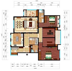 现代中式四居室装修图