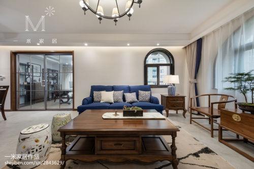 精选135平米四居客厅混搭装修实景图片欣赏客厅窗帘151-200m²四居及以上潮流混搭家装装修案例效果图