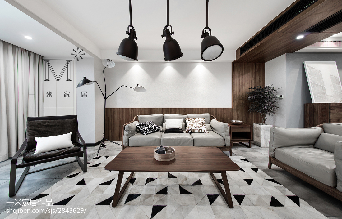 精选混搭3室客厅装饰图片欣赏95平潮流混搭设计图片赏析