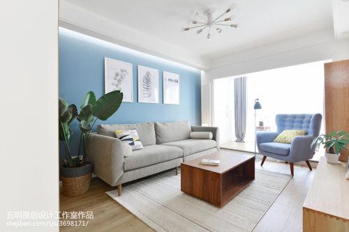 2018精选日式二居客厅装修图客厅窗帘61-80m²二居日式家装装修案例效果图