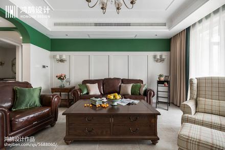 面积106平美式三居客厅装修效果图片